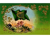 A vintage St. Patricks Day Souvenir card with an illustration of Blarney Castle