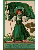 An Irish poem printed on a vintage card with an illustration of a young girl with shamrocks and a flag
