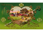 A vintage card of a rural Irish landscape in a heart shaped frame