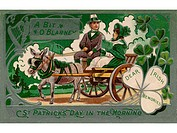 A vintage poster of a couple in a carriage