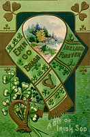 A vintage collage illustration of a scarf, harp, shamrocks and a rural landscape