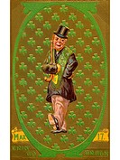 A vintage St. Patricks Day illustration of an Irish man with a patter of shamrocks