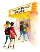 A watercolor illustration of people going to a movie theater