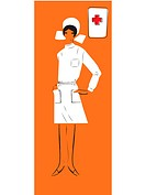 A retro inspired illustration of a female nurse
