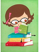A paper cut illustration of a little girl wearing glasses and reading books