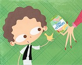 A paper cut illustration of a young boy taking vitamins