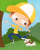 A paper cut illustration of a boy playing outdoors with his pet dog