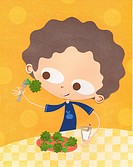 A paper cut illustration of a boy eating broccoli and drinking milk