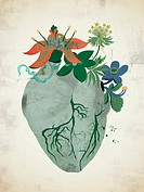A gray heart with flowers growing out of it