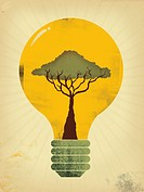 A tree growing in a glowing lightbulb (thumbnail)
