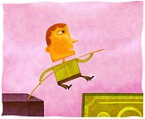 A man high jumping over a gap onto a bank note