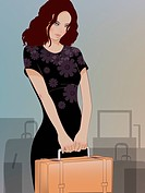 A woman holding a suitcase and luggage behind her
