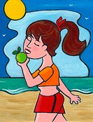 A woman eating an apple while taking a walk on the beach