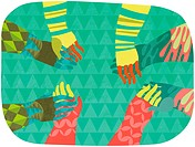 Four pairs of multicolored hands holding hands in a circle