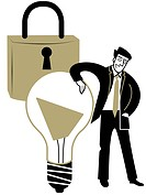 A business man leaning on a light bulb in front of a padlock