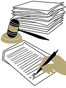 A hand signing a contract, a stack of documents and a judges gavel