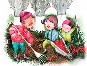 Family raking up autumn leaves (thumbnail)