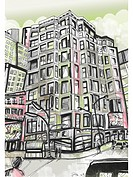 A high rise building on a street corner (thumbnail)