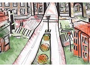 An empty intersection and streets in a city (thumbnail)