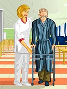 A health care worker helping an elderly man with a walking frame