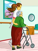 A health care worker assisting an elderly lady with a walking frame