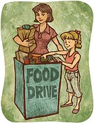 A mother and daughter bringing donations to a food drive