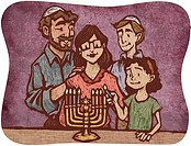 A Jewish family lighting the Menorah