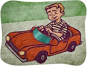 A boy in a toy car