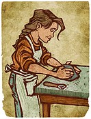 A woman working with clay (thumbnail)