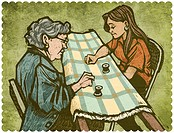 Two women making a quilt together