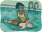 A woman teaching a boy to swim