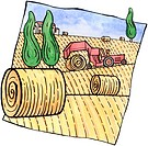 A tractor rolling bales of hay in the field