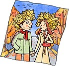 A couple holding hands in a park and wearing hats made of autumn leaves (thumbnail)