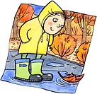 A child in rain boots looking at an orange leaf in a puddle (thumbnail)