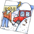 A man shoveling snow in his driveway