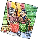 An old couple having cocoa together on a porch