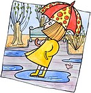 A girl standing in a puddle holding an umbrella