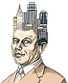 Businessman with cluster of buildings on his head (thumbnail)