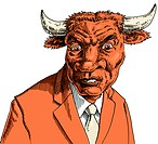 Businessman with bulls head