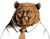 Businessman with bears head (thumbnail)