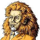 An illustration of a of a businessman adapted into a lion