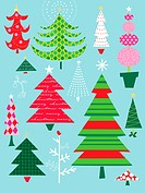 A canvas of different types, styles and colors of Christmas trees