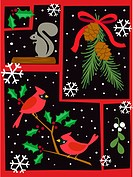 A Christmas based collaboration entailing a squirrel, snow and holly branches in red and green colors