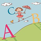 A young girl walking across a tightrope with large letters (thumbnail)