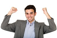 successful business man with arms up looking happy over a white background