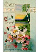 A vintage Easter postcard of a bunny in a field and spring flowers