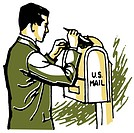 A businessman delivering his mail