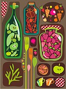 An illustration about fruit and vegetable preserves and pickles