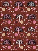 A pattern of apples and trees