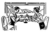 A black and white version of a vintage illustration of a couple dining in a train restaurant